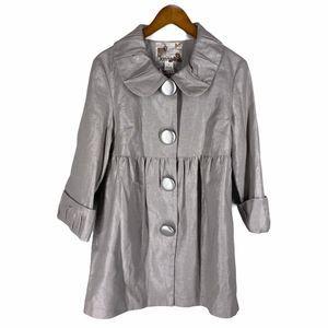 Kensie Silver Metallic Big Button Coat Jacket 10